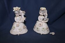 Pair Vintage Pink and Gold Girl Flowers Ucagco Ceramics Made in Japan