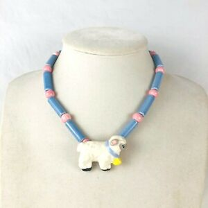 Flying Colors 1980's Vintage Fluffy Ceramic Sheep Hand Painted Pastel Colors