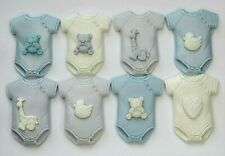 8 Edible Baby Boy Cupcake Cake Toppers Decorations Christening Baby Shower