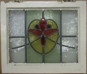 """OLD ENGLISH LEADED STAINED GLASS WINDOW Flower in a Heart Design 21.25"""" x 18"""""""