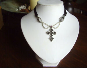 Alchemy Gothic Mortifera Cross Skeleton Choker P427  Pendant Necklace