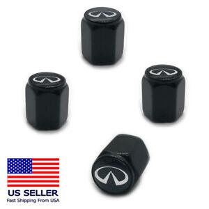 4PC Aluminum Alloy Wheel Tire Valve Air Cover Stem Caps For Infiniti Black