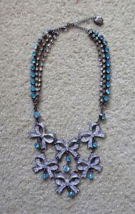 Betsy Johnson Blue Bows Crystal Shiny Beautiful Necklace NEW