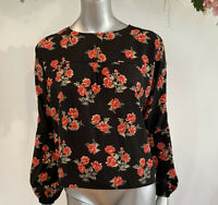 Influence Blouse Black Top Red Floral Long Sleeve Size XS 8 10 New Co-Ord EG102