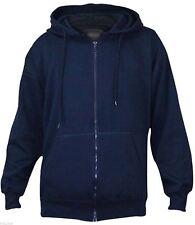Mens True Face Fleece Plain Hoodie Sweatshirt Hooded ZIPPER Jumper Top XL Navy