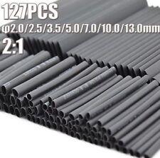 127pcs Black 7 Sizes 2:1 Electronic Heat Shrink Tubing Tube Sleeve Wrap Wire