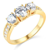 1.80 Ct Round Cut 3-Stone Past Present Future Ring Real Solid 14K Yellow Gold