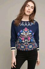 NWT HWR Anthropologie Intarsia Knit Boatneck Sweater M $128