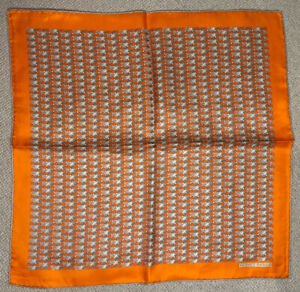 Hermes pocket square, SILK, orange, used but in perfect condition
