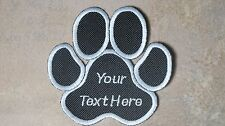 CUSTOM PAW DOG NAME BLACK EMBROIDERED PATCH BIKER MC