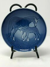 Vtg 1972 Royal Copenhagen Blue White Horse Foal Mors Dag Mothers Day Plate 6""