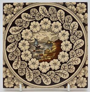 Rare Victorian Aesthetic Movement Printed Tile Decorative Art Tile Co