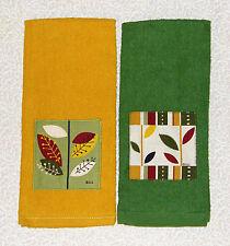 2 Botanical Leaf Print Nature Leaves Green Gold APPLIQUE Kitchen Towels