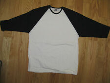Mens Shirt baseball  XL  cotton 3/4 sleeve NEW white black t shirt base layer