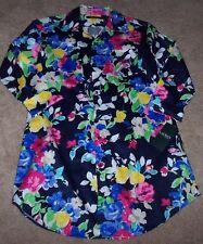NWT Ralph Lauren Navy Blue FLORAL Sleep Shirt Nightgown Gown S Pink/Green/White