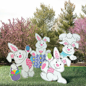 Tumbling Bunnies Yard Signs - Outdoor Easter - Party Decor - 4 Pieces