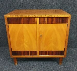 Scandinavian Art Deco Walnut Veneer & Maple Cupboard c 1930