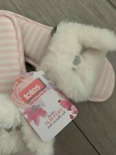 Totes Isotoner Toesties Cat Fluffy Ear Slippers.Size Small, UK Shoe size 3-4.New