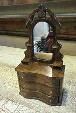 Three drawer Miniature Dollhouse Furniture Dresser with real mirror EUC