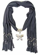 """Jewelry Scarf Necklace Gray Silver Butterfly Pendant Beaded Fringe 70"""" NEW"""