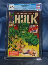 INCREDIBLE HULK #102 CGC 5.5 KEY ISSUE MARVEL COMICS 1968 WOW!!