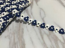 14mm Beautiful rococo ribbon DIY Craft bow trim White And Blue Per Meter