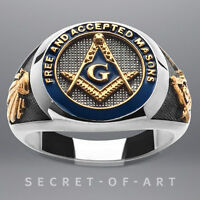 Masonic Ring Freemason F & AM Silver 925 Sterling with 24K-Gold-Plated Parts