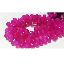 Pink Chalcedony Briolette Beads Tear Drop Faceted Gemstones Beads 70 pcs 10-11mm
