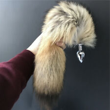 40cm Long Genuine Real Coyote Wolf Fur Tail w 2.8x 7cm Plug Cosplay Adult Tool