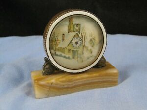 SWISS VINTAGE BOUDOIR MANTEL DESKTOP CLOCK ART DECO MARBLE PICTORIAL