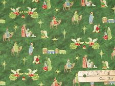 Silent Night Nativity Green Religious Christmas Fabric by the 1/2 Yard #12222