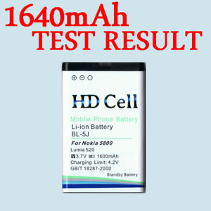 1600mAh HD CELL BATTERY NOKIA BL-5J FOR 5800 XPRESSMUSIC  LUMIA 520 525 5230