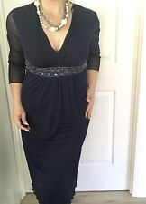 LAURA K WOMENS DRESS NAVY BLUE LINED V NECK LONG Tailored 3/4 SLEEVES SZ 10