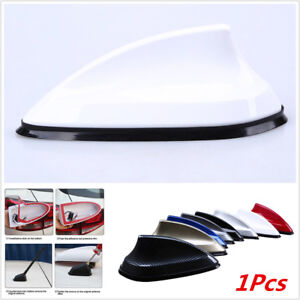 1x White Shark Fin Car Roof Aerial FM AM Radio Signal Replacement Antenna Decor