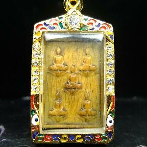 Rare Carving 5 Buddha ,Luang Phor Ngern Buddha, wat Bangkhlan Thai buddha amulet