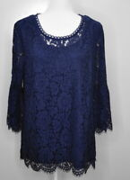 Isaac Mizrahi Live! Size Large 3/4 Sleeve Stretch Lace Tunic Knit Top Blouse