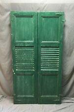 Pair Antique Window Shutters Wood Center Louvered Flat Panel Green VTG 590-20B