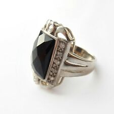 Vintage Black Onyx Ring Solid Silver