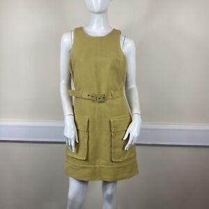 Topshop Ladies Yellow Textured Sleeveless Belted Pocket Short Dress UK Size 12