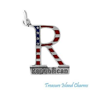 Enamel Republican Party GOP 925 Sterling Silver Charm Election Vote MADE IN USA