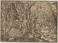 DAVID und der RIESE GOLIATH Original Holzstich um1700 Philister Altes Testament