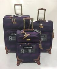 NEW 3PC STEVE MADDEN SPINNER SHADOW COLLECTION LUGGAGE SET $840 PURPLE