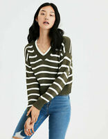 New Women's American Eagle Striped V-Neck Pullover Olive Sweater Sizes XXL