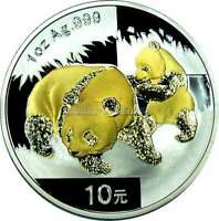 1 OZ Silber 10 Yuan Silver CHINA PANDA 2008 mit Goldapplikation Gilded