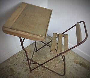 Pour déco ancienne  table d'écolier pliante bois et tubulure en fer avant guerre