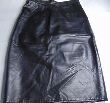 Vakko Vintage Women's Black Leather Knee Length Pencil Skirt Made In USA Size 6