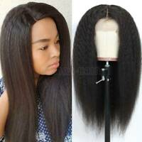 Kinky Straight Lace Front Wig Remy Indian Human Hair 360 Lace Wig Black Women Yg