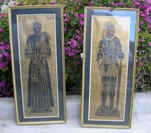 Authentic GRAVESTONE Brass Rubbing Framed Knight In Armour Medieval FRAMED PAIR
