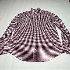Crewcuts Gingham Plaid Button Down Shirt Casual Boys Size 14 Long Sleeve Red