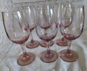 Set of 6 Pink Libbey Wine Glasses (18cm)